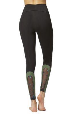 Mesh Back Panel Fitness Leggings Khaki 2X