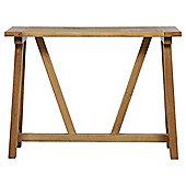 Portobello Trestle Console Table, Rustic Pine