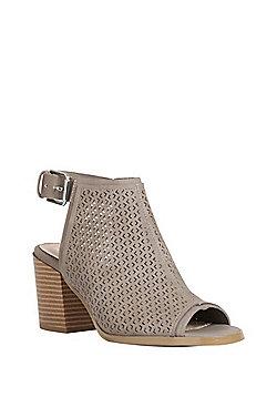 F&F Laser-Cut Peep Toe Heeled Sandals - Taupe