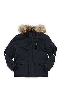 F&F Faux Fur Trim Hooded Parka - Black