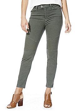 F&F Biker Seam Mid Rise Skinny Jeans - Khaki