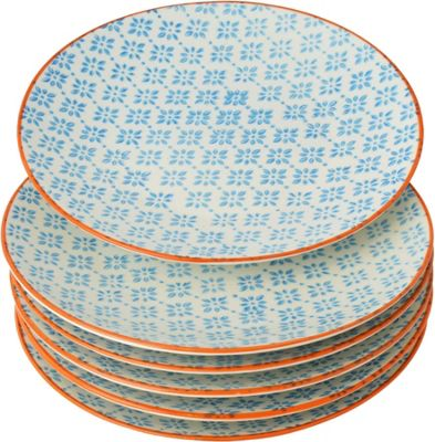 Nicola Spring Patterned Side / Dessert Plates - 180mm - Blue Orange Design - x6