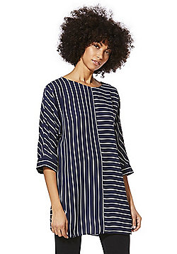 F&F Striped 3/4 Sleeve Tunic - Navy