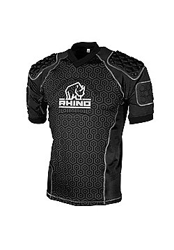 Rhino Rugby - Lightweight Pro Body Protection Top Black - Adult - Black