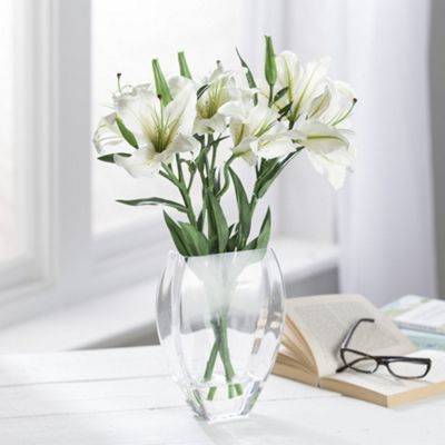 Buy Artificial White Lilies In Glass Vase From Our Artificial
