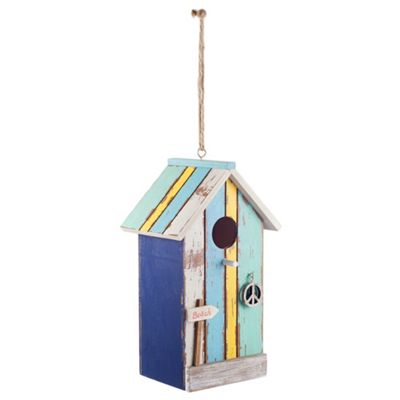 Hanging Painted Wooden Beach Hut Bird House with Yellow Stripe