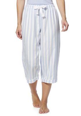 F&F Striped Cropped Lounge Pants Blue/White 12-14
