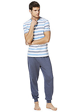 F&F Striped Pique Loungewear Set - Blue