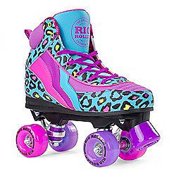 Rio Roller Blue Leopard Quad Roller Skates - Blue