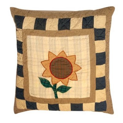 Woven Magic Primitive Sampler Antique Plaids Sunflower Cushion