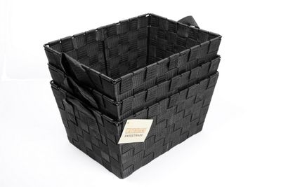 EHC Set Of 3 Polypropylene Woven Basket With Carry Handles - Black