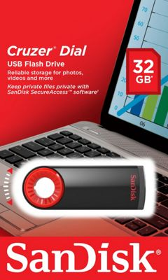 Sandisk Cruzer Dial 32GB USB 2.0 Type-A Black Red flash drive