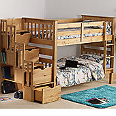Happy Beds Mission Waxed Pine Wooden Staircase Storage Bunk Bed 2 Orthopaedic Mattresses 3ft Single