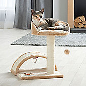 Milo & Misty Cat Bed and Scratching Post Activity Tree with Toys - Beige