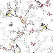 Phoebe Birds Wallpaper - White - 98080