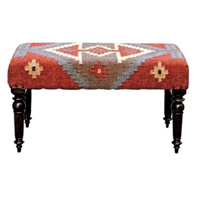 Homescapes Kilim Upholstered Light Solid Wood Bench