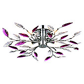 Modern Semi Flush Chrome Ceiling Light with Clear and Purple Acrylic Leaves