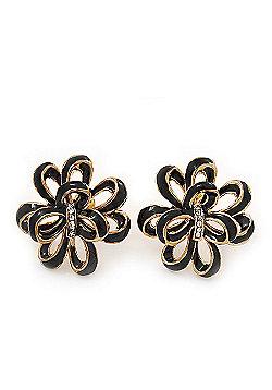 Black Enamel Dimensional Floral Stud Earrings In Gold Plated Metal - 2.5cm in diameter