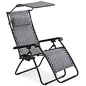 VonHaus Textoline Zero Gravity Chair with Canopy
