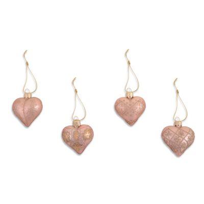 Set of Four Metallic Peach Heart Shaped Christmas Tree Baubles