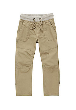 F&F Ribbed Waist Cargo Trousers - Stone