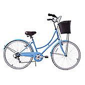 "Ammaco Classique Ladies Heritage Bike Wicker Basket 26"" Wheel Blue"