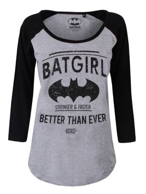 DC Comics Women's Batgirl Long-sleeve Raglan T-Shirt Grey & Black