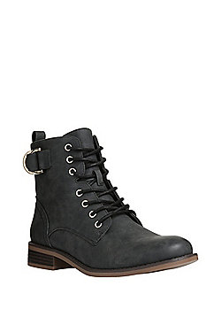 F&F Lace-Up Ankle Boots - Black