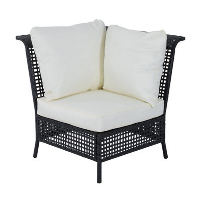 Outsunny Rattan Single Corner Sofa Garden Furniture Wicker w/ Cushion and Pillow