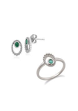 Gemondo Sterling Silver Emerald Stud Earring & Ring Set