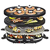 Andrew James 3 in 1 Raclette Set with Stone, Griddle & Pancake Grill, Includes 8 Raclette Pans & Spatulas