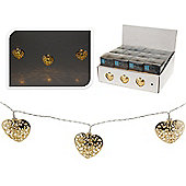 Battery-Operated 10 LED Metal Heart Lights - Gold