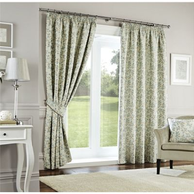 Curtina Oakhurst Duck Egg Lined Curtains - 46x72 Inches (117x183cm)