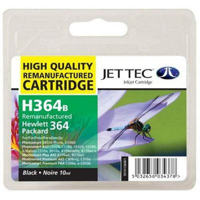 HP364 CB316EE Black Remanufactured Ink Cartridge by JetTec - H364B