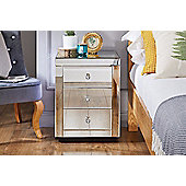 Italian Mirrored 3 Drawer Bedside Table