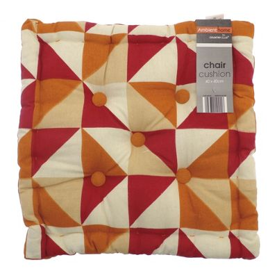 Country Club Geometric Box Chair Cushion Orange & Red, 40 x 40cm