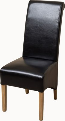 x6 Montana Scroll Back Black Leather Dining Chairs