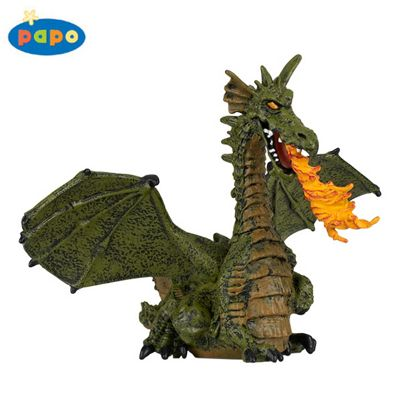 Papo Tales & Legends Green Winged Dragon W/ Flame 39025