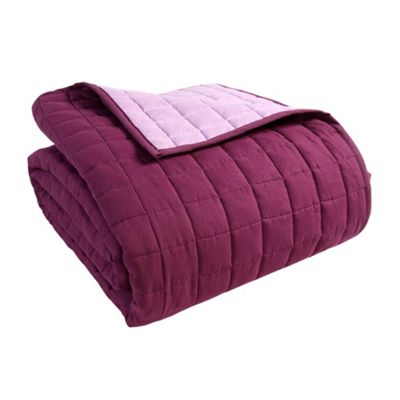 Homescapes Cotton Quilted Reversible Bedspread Lavender Purple,150 x 200 cm