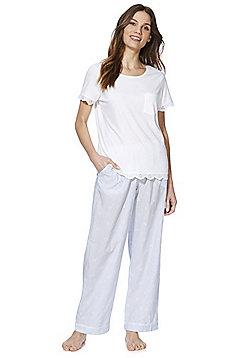 F&F Broderie Anglaise Trim Pyjamas - White/Blue