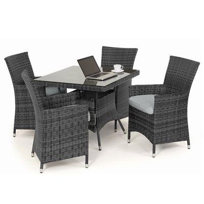 Maze Rattan - Miami 4 Seat Dining Set - 90cm Square Table - Grey