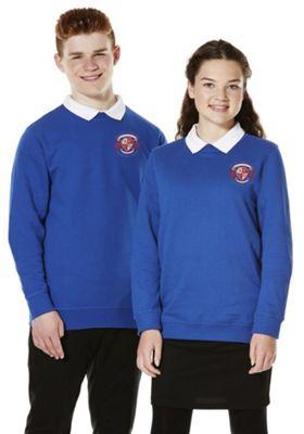 Unisex Embroidered Cotton Blend School Sweatshirt with As New Technology 9-10 years Bright royal blue