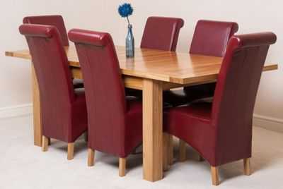 Seattle Solid Oak Extending 150 - 210 cm Dining Table with 6 Red Montana Leather Chairs