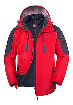 Mountain Warehouse Zenith Extreme Mens 3 in 1 Waterproof Jacket - Red