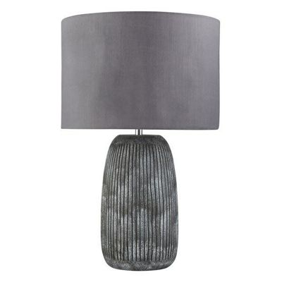 FAIRFIELD TABLE LAMP - GREY DETAILED BASE, GREY SHADE
