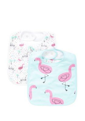 F&F 2 Pack of Zebra and Flamingo Print Feeder Bibs Multi One Size