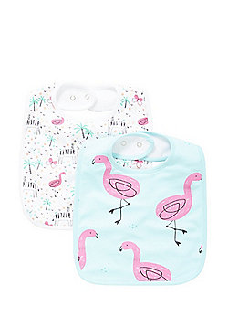 F&F 2 Pack of Zebra and Flamingo Print Feeder Bibs - Multi