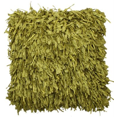 Green Shaggy Funky Cushion For Bed Couch Decor