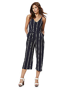 AX Paris Striped Culotte Jumpsuit - Navy
