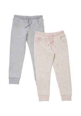F&F 2 Pack of Star Print and Marl Joggers Pink/Grey 12-18 months